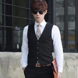 Where To Shop For Spring And Autumn Models Korean Style Slim Fit Men S Suit Vest Male Business Casual Career Suit Vest England Vest Waistcoat Black Four Buckle
