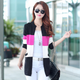 Compare Price Women S Korean Style Splice Mid Length Knit Cardigan Black Black On China