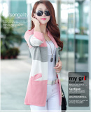 Women S Korean Style Splice Mid Length Knit Cardigan Pink Pink Discount Code