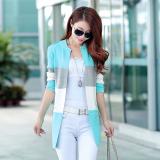 Best Rated Women S Korean Style Splice Mid Length Knit Cardigan Sky Blue Sky Blue