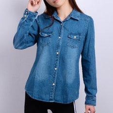 Best Spring And Autumn New Slimming Effect Loose Denim Long Sleeved Shirt Cl Blue Denim Shirt Version1