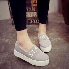 Brand New Spring And Autumn New Style Breathable Thick Bottomed Muffin Shoes St ∧ R Gray
