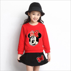 Buy Spring And Autumn New Style Girls Skirts Mickey Long Sleeved Skirt Suit Red