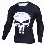 Buy Spring And Autumn Thin Section Winter Soldier Warrior Punisher Skull Round Neck Long Sleeve Men S T Shirt Sports Tights Breathable Punisher White Long Sleeve Cheap China