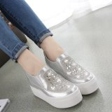 Sales Price Spring And Autumn Ultra High Heeled To Help Low Travel Diamond Silver Platform Shoes Silver