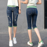 Spring And Summer Elastic High Waisted Capri Denim Pants Shopping