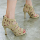 Who Sells Roman Black Thin Heeled Porous Dancing Shoes High Heeled Women S Sandals N*d* Color