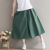 Shop For Loose Fashion 3 4 Length Skirt Pants Cotton And Linen Wide Leg Pants Army Green Army Green