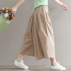 Buy Loose Fashion 3 4 Length Skirt Pants Cotton And Linen Wide Leg Pants Deep Khaki Cloth Color Deep Khaki Cloth Color Online China