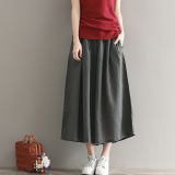 Coupon Loose Fashion 3 4 Length Skirt Pants Cotton And Linen Wide Leg Pants Gray Gray
