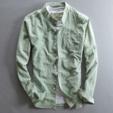 Cheaper Men Shirt Slim Fit Japanese Style Retro Long Sleeved Cotton Linen Shirt Light Green Light Green