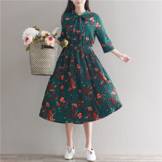 Promo Literary And Artistic Green Female Bow Neck Long Dress Floral Print Short Sleeve Dress