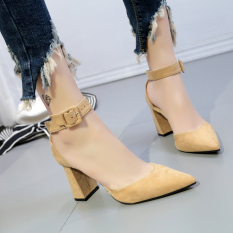 Spring And Summer New Style Straight Line Buckle High Heels Champagne Color China