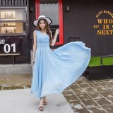 Cheaper Spring And Summer New Women S Beach Dress Korean Style Slim Temperament Chiffon Bohemian Dress Light Blue Intl