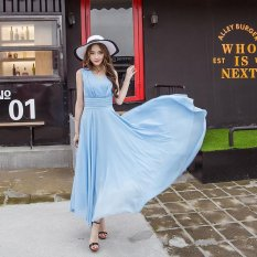 Spring And Summer New Women S Beach Dress Korean Style Slim Temperament Chiffon Bohemian Dress Light Blue Intl Price