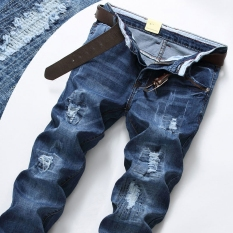 Sale Men S Thin Loose Straight Leg Stretch Ripped Jeans Oem Online