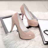 Spring And Waterproof Platform Heels Single Shoes Beige Online