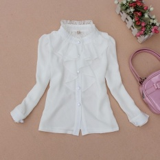 Sale Spring Autumn Chiffon Blouses For Girls Children Clothing Long Sleeve Lace Collar White Shirts Teenage Tops Toddlers Clothes 2 15 Years White Intl Oem