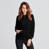 For Sale Spring Autumn Women Hoodies Sweatshirts Long Sleeve Hat Pockets Splice Lace Casual Solid Pullovers Intl