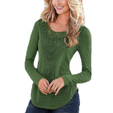 Promo Spring Autumn Women Long Sleeve Hollow Out Neck Blouses Casual Slim Blusas Plus Size Feminina Shirts Solid Tee Tops Green Intl