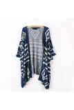Buy Spring Autumn Women S Girls Rhombus Pattern Batwing Sleeves Long Loose Knitted Cardigan Shawl Cape Sweater Coat One Size Denim Blue Oem Cheap