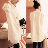 Discount Cotton White New Style Long Sleeved Top Female Shirt Oem