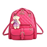 Spring Girls Leather Backpacks Fashion Leisure Sch**l Bag With Bear Pendant Red Intl For Sale Online