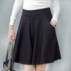 Buy Long Section Pleated A Word Skirt Tutu Umbrella Culottes Bust Skirt Black Black Oem Online