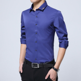 Plus Velvet Solid Youth Non Iron Warm Bottoming Shirt Long Sleeved Shirt Blue Iron Shirts Thin H5 Compare Prices