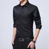 Discount Plus Velvet Solid Youth Non Iron Warm Bottoming Shirt Long Sleeved Shirt H5 Black Iron Shirt Thin