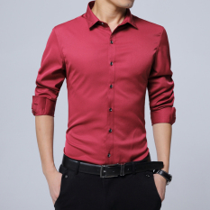 Where To Shop For Plus Velvet Solid Youth Non Iron Warm Bottoming Shirt Long Sleeved Shirt Burgundy H5 Iron Shirt Thin