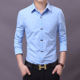 Best Reviews Of Spring Men Long Sleeve Shirts Blue Blue