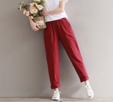 Latest Spring New Fashion Female Cotton Linen Trousers Female Literary Wind Haren Pants Long Trousers Intl