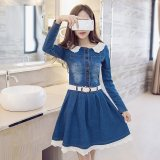 Buy Women S Lace Slimming Denim Dress Blue Oem Cheap