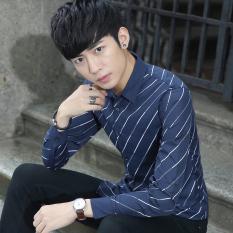 Price Men S Men S Slim Fit Striped Print Inch Shirt Long Sleeved Shirt Navy Blue Navy Blue China
