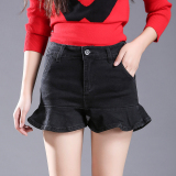 Korean Style Spring New Style Flounced Cowboy Short Skirts Black Black Promo Code