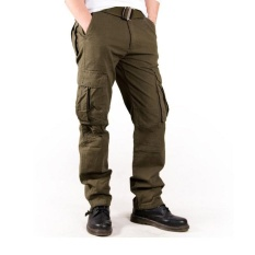 Spring Summer Men S Cargo Pants Casual Multi Pocket Military Overall Long Trousers Relaxed Fit Outdoor Hiking Pants Green Intl Reviews