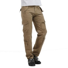 Best Rated Spring Summer Outdoor Casual Military Cargo Pants Men Loose Fit Tactical Trousers Cotton Multi Pockets Khaki Intl
