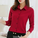 Spring Summer Women Ladies Blouses Shirts Plain Slim Turn Down Collar Long Sleeve Tops Shirt Intl In Stock