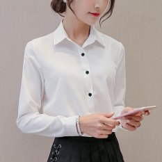 Spring Summer Women Ladies Blouses Shirts Plain Slim Turn Down Collar Long Sleeve Tops Shirt Intl On Line