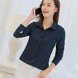 Price Spring Summer Women Ladies Blouses Shirts Plain Slim Turn Down Collar Long Sleeve Tops Shirt Intl On China