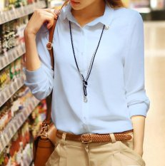 Spring Summer Women Ladies Long Sleeve Button Shirts Female Chiffon Shrit Tops Intl Coupon Code