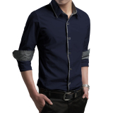 Autumn Men Long Sleeve Shirt White Shirt Dark Blue Dark Blue Coupon Code
