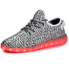 Retail Srz Fashion Lovers Knitting Paternity Shoes Tide Shoes Korean Version Of Casual Men S Sneakers Coconut Led Luminous Ghost Dance Shoes Grey