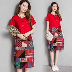 Sale Women S Printed Round Neck Cotton Linen Short Sleeve Dress Red Red On China