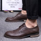 Low Price Stmengge Men S Microfiber Leather Tie Business Shoes(Brown) Intl