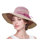 Discount Straw Hat Women Summer Straw Bucket Hat Ladies Fashion Foldable Packable Large Brim Summer Outdoor Fedora Hat Sun Protection Caps Lightweight Fancy Dress Headwear Topee Purple Intl Oem On China
