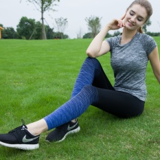 Review Yoga Training Compression Female Pants Quick Drying Pants Sapphire Blue Sapphire Blue On China