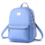 Student Fashion Backpack Pu Leather Shoulder Bag Casual Backpack For Women Light Blue Discount Code