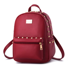 Student Fashion Backpack Pu Leather Shoulder Bag Casual Backpack For Women Red Intl Shop
